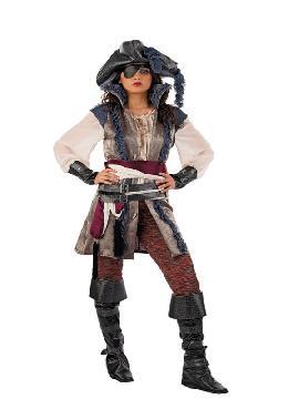 disfraz de pirata bucanera deluxe mujer adulto. Puedes disfrazarte por tu cuenta o combinarte con tu pareja corsaria para abordar con salvaje simpatía el Carnaval.Este disfraz es ideal para tus fiestas temáticas de disfraces piratas, bucaneros y corsarios adultos