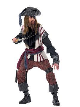 disfraz de pirata bucanero deluxe hombre adulto. Puedes disfrazarte por tu cuenta o combinarte con tu pareja corsario para abordar con salvaje simpatía el Carnaval.Este disfraz es ideal para tus fiestas temáticas de disfraces piratas, bucaneros y corsarios adultos de alta gama
