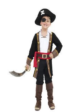 disfraz de pirata casaca negra niño. Los más pequeños de la familia se convertirán en auténticos bucaneros y se divertirán viviendo mil aventuras con sus amigas en Fiestas de la Guardería. Este disfraz es ideal para tus fiestas temáticas de piratas y corsarios infantil.