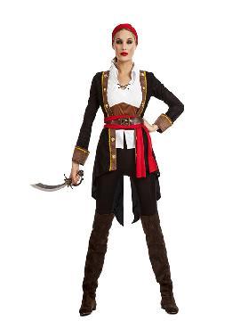 disfraz de pirata casaca negro mujer