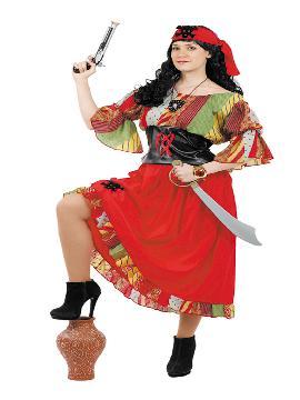 Disfraz de pirata colorida para mujer. Te hará embarcar en las aventuras más divertidas del Carnaval. Llévate a tu tripulación a las fiestas de tematicas. Este disfraz es ideal para tus fiestas temáticas de piratas y corsarios para adulto. fabricacion nacional