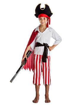 disfraz de pirata con capa niño infantil. Los más pequeños de la familia se convertirán en auténticos bucaneros y se divertirán viviendo mil aventuras con sus amigas en Fiestas de la Guardería. Este disfraz es ideal para tus fiestas temáticas de piratas y corsarios