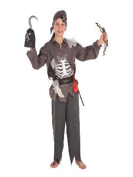 disfraz de pirata esqueleto para niño