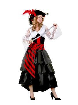 disfraz de pirata falda larga mujer. Abandona el mar del caribe y en compañía del resto de la tripulación podréis disfrutar de las fiestas de disfraces.Este disfraz es ideal para tus fiestas temáticas de disfraces de piratas, corsarios y bucaneros adulto.