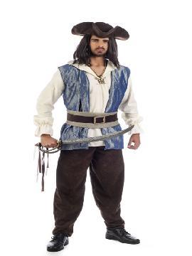 disfraz de pirata jack deluxe hombre adulto. Puedes disfrazarte por tu cuenta o combinarte con tu pareja corsario para abordar con salvaje simpatía el Carnaval.Este disfraz es ideal para tus fiestas temáticas de disfraces piratas, bucaneros y corsarios adultos de alta gama.