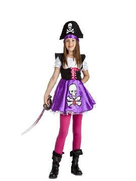disfraz de pirata lila calavera niña infantil. Los más pequeños de la familia se convertirán en auténticos bucaneros y se divertirán viviendo mil aventuras con sus amigas en Fiestas de la Guardería. Este disfraz es ideal para tus fiestas temáticas de piratas y corsarios para infantil.