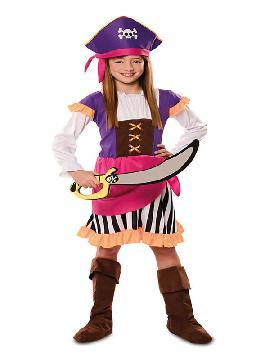 disfraz de pirata lila para niña