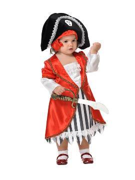 Disfraz de pirata lujo para niña. Los más pequeños de la familia se convertirán en auténticos bucaneros y se divertirán viviendo mil aventuras con sus amigas en Fiestas de la Guardería. Este disfraz es ideal para tus fiestas temáticas de piratas y corsarios para infantil. fabricacion nacional