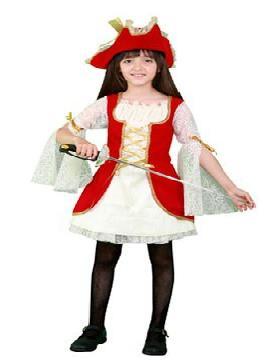 Disfraz de pirata mosquetera niña. Acompaña a Barba Negra en las aventuras acompañando a los corsarios más divertidos en Fiestas Temáticas, Cumpleaños. Este disfraz es ideal para tus fiestas temáticas de piratas y corsarios para infantil