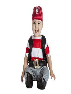 Este disfraz de pirata para bebe es ideal para las guarderias, con un mono con chaleco y un precioso pañuelo rojo con chupete y es ideal para tus fiestas temáticas de disfraces piratas, bucaneros y corsarios y montar una fiesta con la familia.