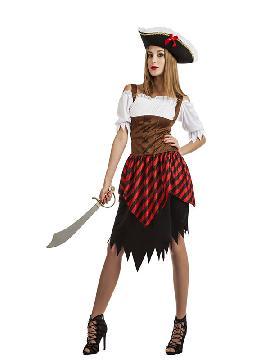 disfraz de pirata para mujer. Puedes disfrazarte por tu cuenta o combinarte con tu pareja corsaria para abordar con salvaje simpatía el Carnaval y ser de la pelicula de piratas del caribe. Este disfraz es ideal para tus fiestas temáticas de disfraces piratas, bucaneros y corsarios adultos