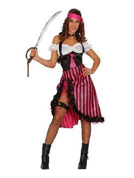 disfraz de pirata pink charlotte mujer seras una autentica corsaria para viajar por los mares y enfrentarte a tu enemigo. Este disfraz es ideal para tus fiestas temáticas de disfraces de piratas, corsarios y bucaneros adulto.