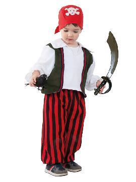 disfraz de pirata rayas bebe infantil. Los más pequeños de la familia se convertirán en auténticos bucaneros y se divertirán viviendo mil aventuras con sus amigas en Fiestas de la Guardería. Este disfraz es ideal para tus fiestas temáticas de piratas y corsarios para infantil.
