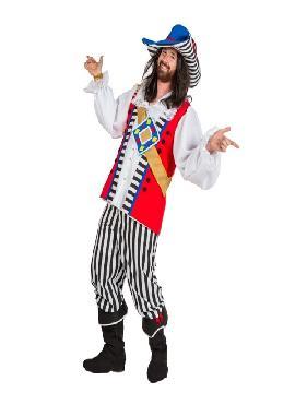 disfraz de pirata rayas deluxe hombre adulto. Este Disfraz de Pirata del Caribe para hombre te hará sentir como un auténtico bandolero de los mares.Puedes disfrazarte por tu cuenta o combinarte con tu pareja corsaria para abordar con salvaje simpatía el Carnaval.Este disfraz es ideal para tus fiestas temáticas de disfraces piratas, bucaneros y corsarios de hombre adultos. fabricacion nacional