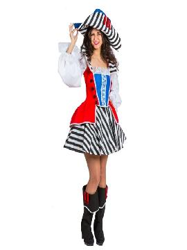 disfraz de pirata rayas deluxe mujer adulto. Puedes disfrazarte rayas negras y blancas, por tu cuenta o combinarte con tu pareja pirata para abordar con salvaje simpatía el Carnaval.Este disfraz es ideal para tus fiestas temáticas de disfraces piratas, bucaneros y corsarios de mujer adultos. fabricacion nacional