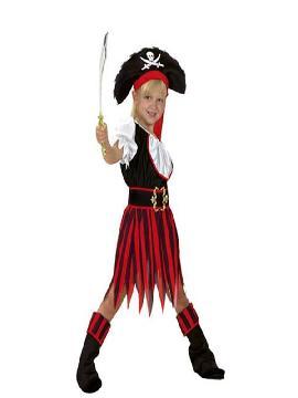 Disfraz de pirata rayas niña. Los más pequeños de la familia se convertirán en auténticos bucaneros y se divertirán viviendo mil aventuras con sus amigas en Fiestas de la Guardería. Este disfraz es ideal para tus fiestas temáticas de piratas y corsarios para infantil.