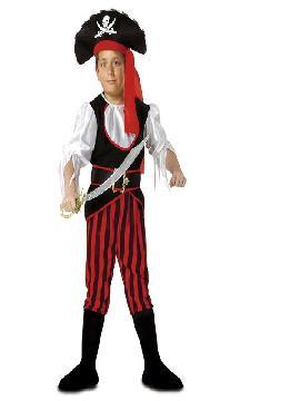disfraz de pirata rayas niño. Acompaña a Barba Negra en las aventuras acompañando a los corsarios más divertidos en Fiestas Temáticas, Cumpleaños. Este disfraz es ideal para tus fiestas temáticas de piratas y corsarios para infantil.