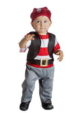 Este disfraz de pirata para niño infantil es ideal para las guarderias y colegios, con un mono con chaleco y un precioso pañuelo rojo con chupete y es ideal para tus fiestas temáticas de disfraces piratas, bucaneros y corsarios y montar una fiesta con la familia.