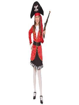 disfraz de pirata rojo para niña infantil. Para que no te falte un detalle y seas una corsaria llena de glamour.Este traje de bucanera tan chic..Este disfraz es ideal para tus fiestas temáticas de disfraces de piratas, corsarios y bucaneros niñas infantiles.