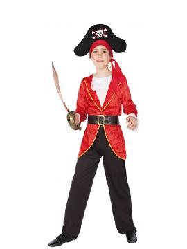 disfraz de pirata rojo para niños. Abandona el mar del Caribe y en compañía del resto de la tripulación podréis disfrutar de las fiestas de disfraces.Este disfraz es ideal para tus fiestas temáticas de disfraces de piratas, corsarios y bucaneros niños infantiles.