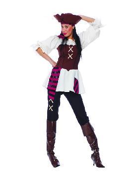 disfraz de pirata siete mares mujer. Puedes disfrazarte por tu cuenta o combinarte con tu pareja corsario para abordar con salvaje simpatía el Carnaval. Este disfraz es ideal para tus fiestas temáticas de disfraces piratas, bucaneros y corsarios adultos.