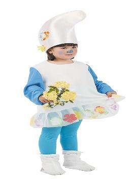 Disfraz de pitufina para niña. Este comodísimo traje es perfecto para carnavales, espectáculos, cumpleaños y también para las fiesta de los colegios como fin de curso. Este disfraz es ideal para tus fiestas temáticas de pitufos y cuentos para infantil. fabricacion nacional