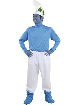 Disfraz de pitufo del bosque hombre. Te convertirás en esos adorables enanitos azules que viven en las setas en lo profundo del bosque. Este disfraz es ideal para tus fiestas temáticas de pitufos y cuentos para adulto. Fabricación nacional.