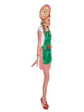 Disfraz de pizzera para mujer adulto. Este ideal para ser las mejor cocinera de pizzas en tus fiestas de disfraces. Este disfraz es ideal para tus fiestas temáticas de disfraces de humor y divertidos para adultos.