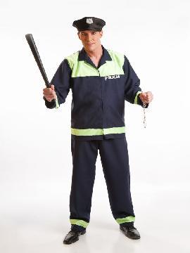 disfraz de policia local para hombre adulto. Con este traje de policía te sentirás como un auténtico agente de seguridad.Este disfraz es ideal para tus fiestas temáticas de disfraces de uniformes de trabajo y deporte,policias,guardia civiles y presos para hombre adultos.