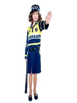 Disfraz de policía local para niña. Con este traje de Policía infantil te convertirás en un auténtico agente de la justicia. Este disfraz es ideal para tus fiestas temáticas de disfraces de policías infantiles.
