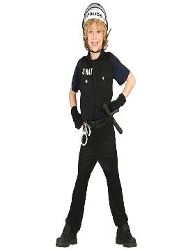 disfraz de policia SWAT niño. Con este traje de policía te sentirás como un auténtico agente de seguridad. Este disfraz es ideal para tus fiestas temáticas de disfraces de uniformes de trabajo y deporte,policias,guardia civiles y presos para infantiles