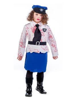disfraz de policia zombie niña. Te sentirás como un auténtico agente de seguridad. Este disfraz es ideal para tus fiestas temáticas de disfraces halloween de uniformes de trabajo y deporte,policías,guardia civiles y presos infantil.