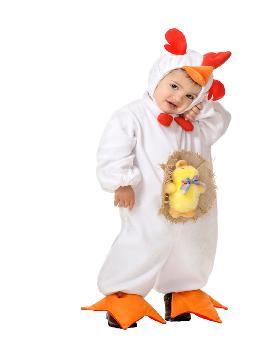 disfraz de pollito blanco bebe 12 meses. El peque de la casa se convertirá en el despertador de la granja. Este disfraz es ideal para tus fiestas temáticas de animales y gallo para infantil. fabricacion nacional