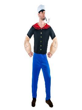 Disfraz de Popeye forzudo hombre. Te convertirás en un autentico marinero en tus fiestas de disfraces. Con este disfraz de Popeye adulto de dibujos animados, devorador de espinacas a las que debe su fuerza sobrehumana. Busca a tu olivia en Fiestas Temáticas. Este disfraz es ideal para tus fiestas temáticas de disfraces cuentos populares,famosos y músicos y marineros para hombre adultos.