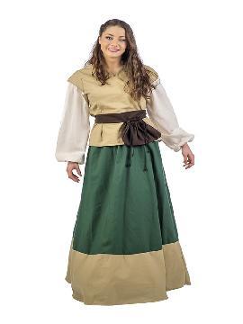 disfraz de posadera medieval juana mujer. Te convertirás en una auténtica mujer de la época medieval cuando lleves este vestido de campesina medieval para mujer, representaciones teatrales y mercados medievales. Este disfraz es ideal para tus fiestas temáticas de disfraces epoca y medievales para la edad media adultos. Fabricación nacional