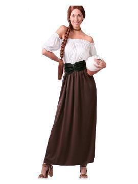 disfraz de posadera medieval mujer. Te convertirás en una auténtica mujer de la época medieval cuando lleves este vestido de campesina medieval para mujer, representaciones teatrales y mercados medievales. Este disfraz es ideal para tus fiestas temáticas de disfraces época y medievales para la edad media adultos