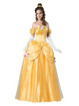 disfraz de princesa bella deluxe mujer