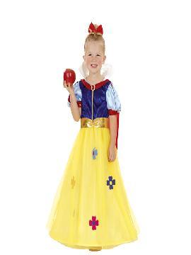 Disfraz de princesa blancanieves niña. Te sentirás una auténtica princesa disney de tus fiestas de cumpleaños o escolares. Este disfraz es ideal para tus fiestas temáticas de disfraces de princesas y príncipes infantiles