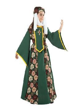 disfraz de princesa medieval con flores niña