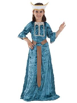 Disfraz de princesa medieval niña. Es ideal para las ferias y mercados medievales o para lucir en Carnavales. Podrás vestir a la pequeña de la casa de princesa, modelo inspirado en las Damas de cuento de la Edad Media. fabricación nacional infantil.