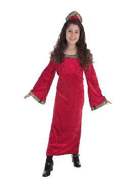 disfraz de princesa medieval roja para niña