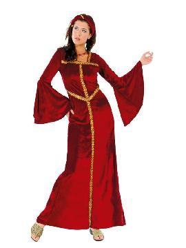 disfraz de princesa medieval rojo mujer. Con este elegante vestido podrás sentirte como una auténtica princesa en tus fiestas temáticas, representaciones, actuaciones, carnaval, etc. Este disfraz es ideal para tus fiestas temáticas de disfraces época y medievales para la edad media adultos.
