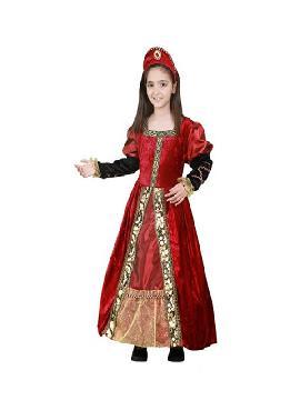 disfraz de princesa roja y dorado niña