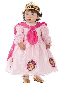 Disfraz de princesa rosa para bebé. Conseguirás que tu niña se transforme en la hermosa protagonista del cuento la bella durmiente. Este disfraz es ideal para tus fiestas temáticas de princesas y cuentos para infantil. fabricacion nacional