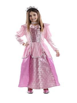 disfraz de princesa rosa y plata niña