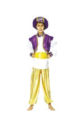 Disfraz de príncipe árabe infantil. Serás el más rico y poderoso en tus Fiestas Temáticas, navidad o cabalgatas de reyes. Prepárate para que todas las niñas caigan rendidas a tus pies, y deseen ser tu princesa.