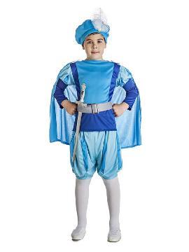 disfraz de principe azul para niño serás el monarca más elegante de las fiestas medievales y busca a tu preciosa princesa. Luce tus reales vestiduras en carnavales y fiestas tematicas. Este disfraz es ideal para tus fiestas temáticas de principes y reina para infantiles