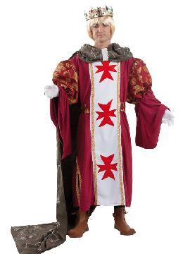 Disfraz de príncipe medieval lujo hombre adulto. Serás el centro de atención en la corte. Prepárate  para asistir  a las elegantes fiestas temáticas, ferias, representaciones teatrales y mercados medievales o de carnaval  en las que encontrarás a tu amada princesa para que se case contigo.