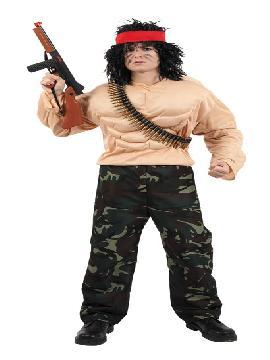 Disfraz de Rambo hombre. Disfrutarás como si fueses Stallone en la película Rambo en tus fiestas tematicas. Este disfraz es ideal para tus fiestas temáticas de disfraces de uniformes de trabajo y deporte,militares adulto.