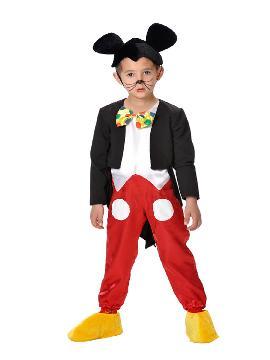 Disfraz de ratón mickey deluxe para niño. Los más pequeños de la casa se transformarán en elegantes roedores. En sus fiesta disney vestido de Mickey Mouse. Este disfraz es ideal para tus fiestas temáticas de animales y cuentos para infantil. fabricacion nacional